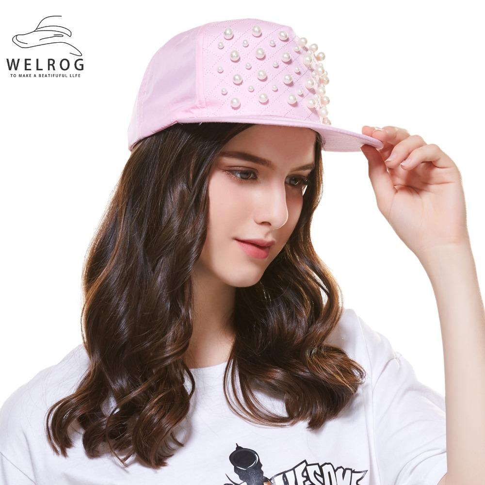 WELROG Women Baseball Cap Girls Brand Shiny Pearl Hip Hop Cap Outdoor  Street Dancer Snap Back Pink Casual Snapback Hat Cap Hat From Xiamenwatch eca81c46f7b0