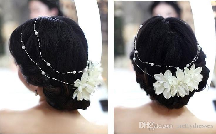 Cheap Sale Bridal Hair Accessories Pearls Adorned Headpieces White Dyi Bouquets Adorned Pearls For Wedding Bride Head Accessories Headpieces