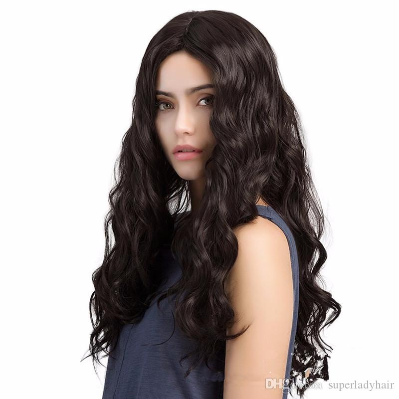 Fashion Women S Middle Part Long Loose Deep Wave Wigs Hairpieces Synthetic  Wigs Natural Black Women S Wigs Hair Wig Lace Front Closure Piece Online Wig  From ... de1bed338e