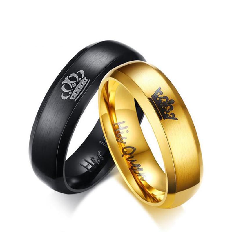 Bague En Or Noir Or Couple Couple Bague En Acier Inoxydable Alliance Mariage Couronne Pour Les Femmes Et Les Hommes Promise Bijoux