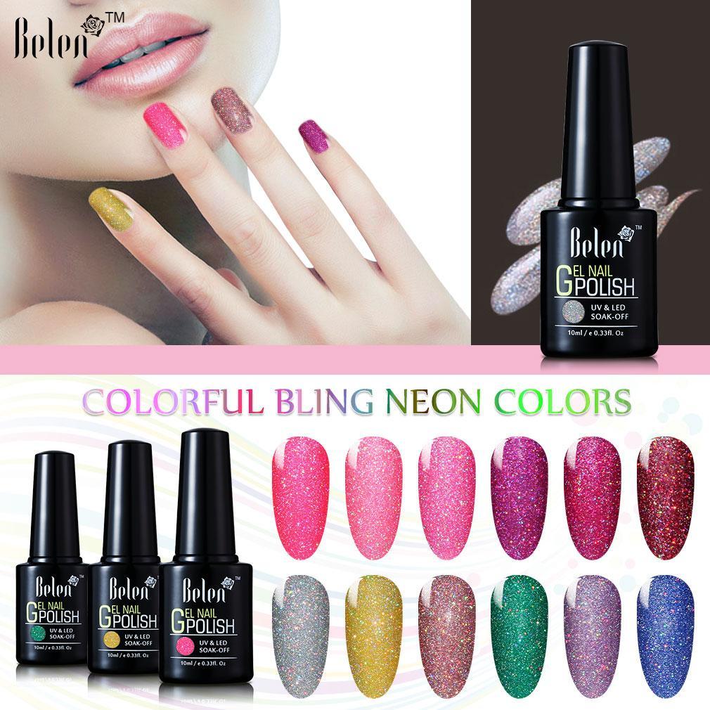Belen Colorful Neon Gel Polish Bling Gel Lak Vernis Semi Permanent ...