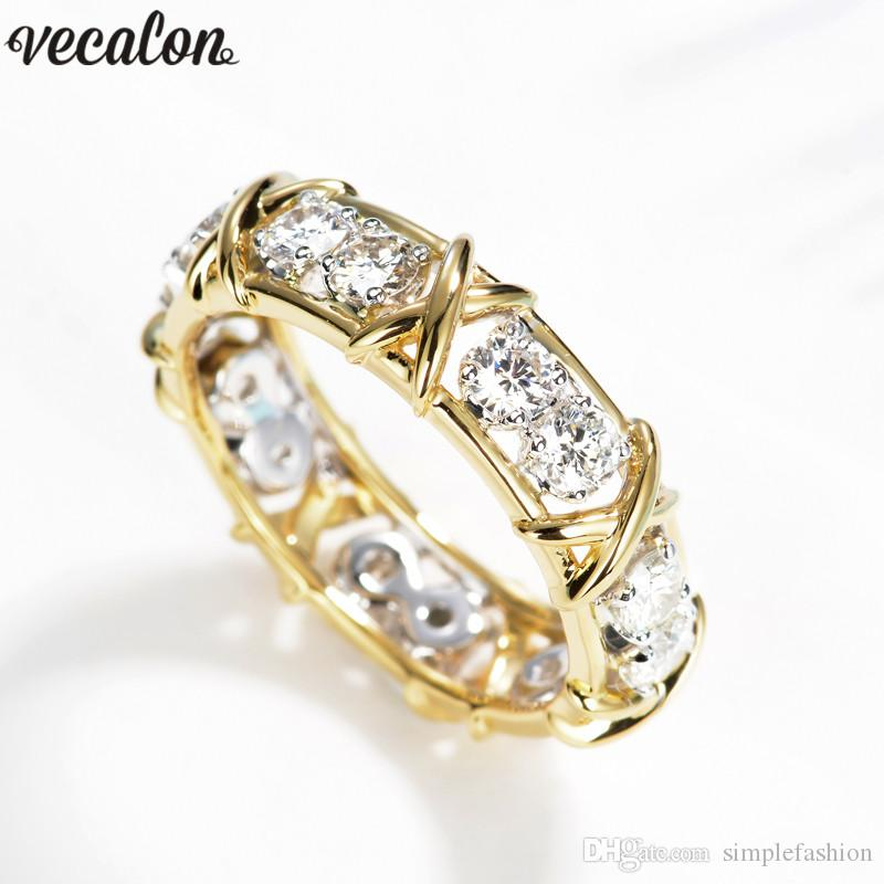 Vecalon infinity Lovers Ring 5A Zircon Cz Wedding Rings for Women men Yellow Gold Filled Bridal Engagement Band Gift