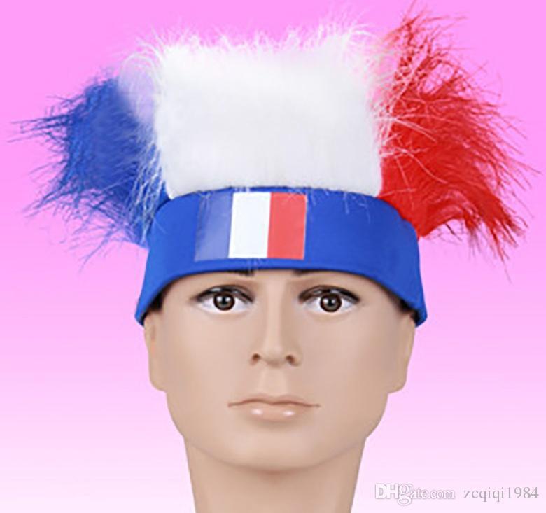 مزج أنماط كأس العالم لكرة القدم المشجعين القبعات مع العلم الوطني اللون الباروكة عبة كرة القدم بلويستر عقال العلم الوطني أغطية الرأس