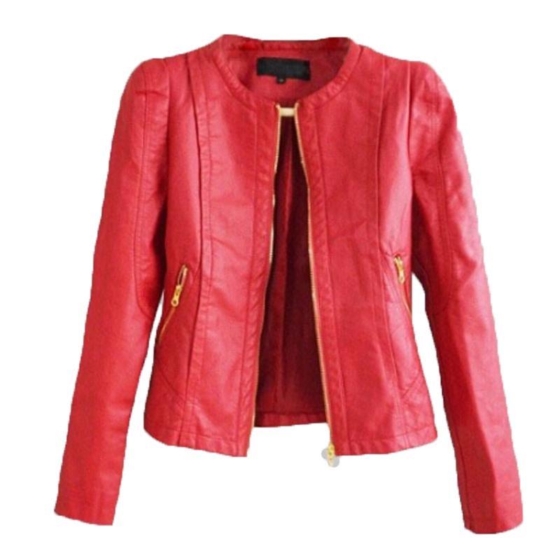 size 40 72389 8dbc4 Giacca in pelle rossa donna 2018 New Fashion manica lunga Slim girocollo  corto cappotto in pelle PU giacca da moto femminile Outwear