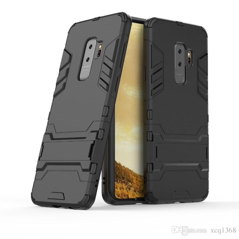 Luxury Rugged Armor Case for iPhone X XS Max XR 8 7 6 6S Plus Galaxy S10E S10 S9 S8 Plus Note 8 S9 Plus Anti Shock Kickstand Fiber Design