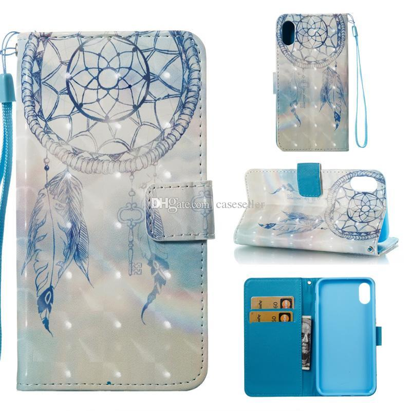 3d dreamcatcher flor borboleta torre de veado stand id carteira carteira estojo de couro para iphone x xr xs max samsung s9 plus nota 9