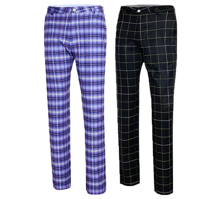 40221358e5c Golf Apparel Golf Pants Men S Autumn High Elastic Trousers Plaid ...