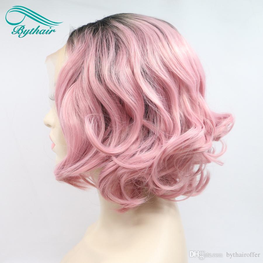 Bythairshop Hohe Temperatur Faser Kurze Bob Wellenförmige Perücke Dunkle Wurzeln zu Sakura rosa Synthetische Lace Front Perücken für Frauen Mädchen Dame Cosplay