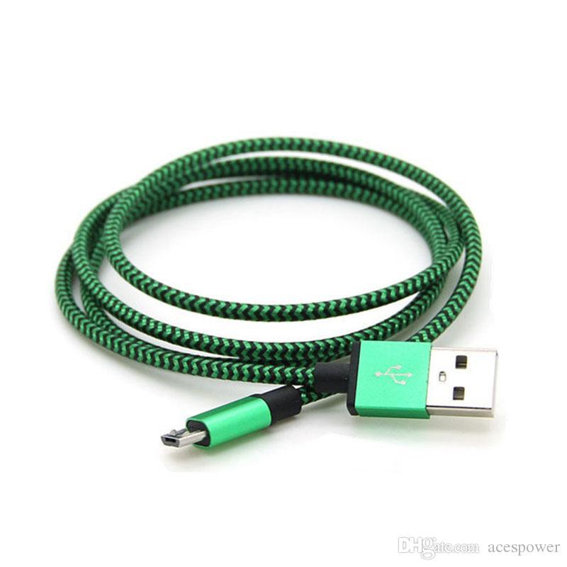 نوع USB C كابلات النايلون مضفر v8 مايكرو USB خط البيانات مزامنة شاحن كابل الحبل نسج حبل كابل خط البيانات لخط البيانات الذكية سامسونج