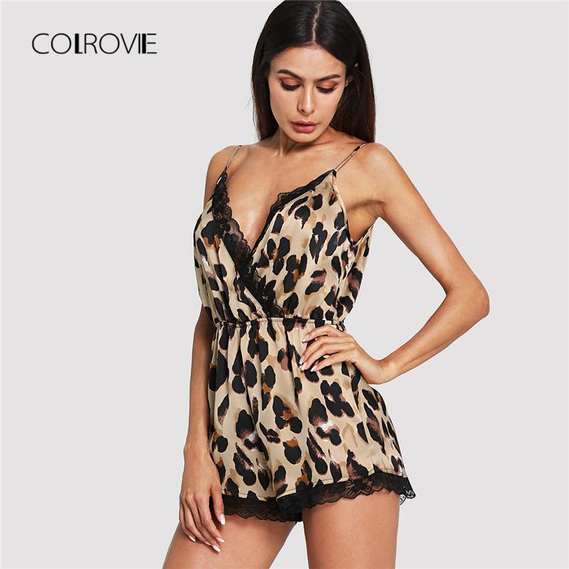 936cabf3a 2019 COLROVIE Sexy Deep V Neck Lace Trim Wrap Front Leopard ...