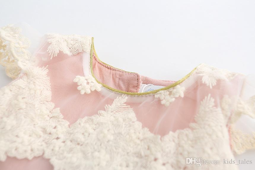 2018 nuevos niños coreanos de encaje de gasa vestido de fiesta de princesa de la princesa bebé mosca manga vestidos de verano
