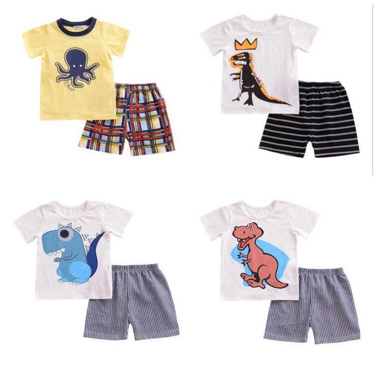 Baby Boys Girls Cute Cartoon Short Sleeve T-Shirt Tops+Pants Outfits Pajamas Set