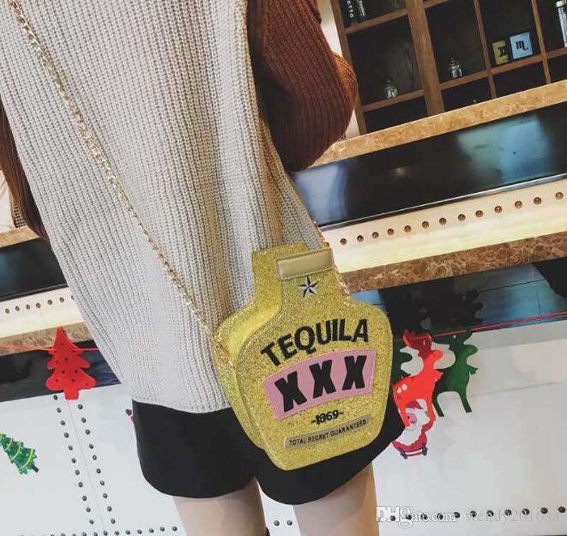50 adet 2018 Yeni Şarap Şişesi Tarzı Nakış lazer sequins Omuz Çantaları 3 renkler Kadınlar Pu Zincir Çapraz vücut Çanta