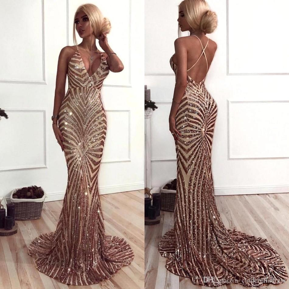d7c8a39971b New Mermaid Rose Gold Sequins Prom Dresses 2019 African Luxury V Neck Sweep  Train Backless Prom Dresses Evening Wear BA8496 Short Prom Dresses Under 50  ...