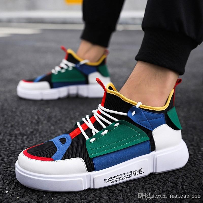 7a0977c8cdd3 2018 New Men Autumn High-top Breathable Mesh Panel Shoes Korean ...