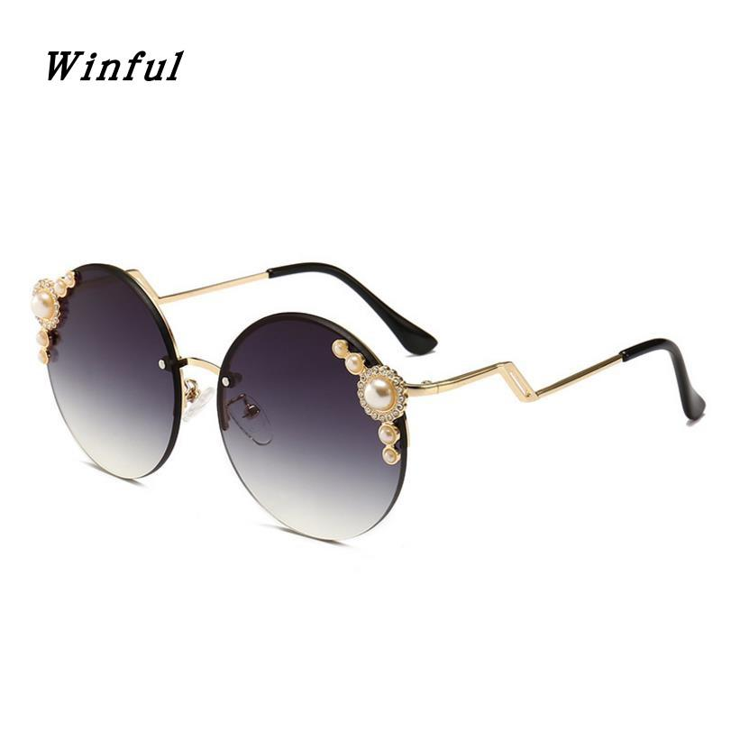 84ef9861af6 Winful Retro Round Rimless Sunglasses Women Pearl Brand Designer Sun Glasses  Blogger Recommeded Sunglass Female UV400 Eeywear Police Sunglasses  Serengeti ...