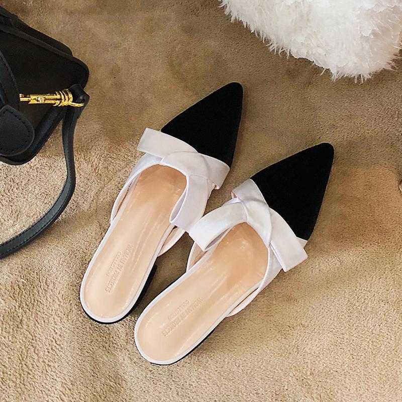 45e1078c5c83 Nuevas mujeres de moda Velvet Mulleus Slippers Europ Blogger Estilo de  trabajo elegante Cute Bow Scuffs Pointed Toe Low Heels Sandals Wholesal