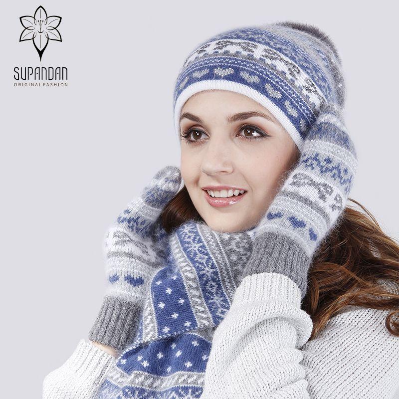 2019 SUPANDAN Winter Knitted Wool Hats For Women Fashion Pompon Beanies Fur  Hat Female Warm Ear Cuff Hat Scarf Gloves Set 8492TDL From Milknew 235fb66914f