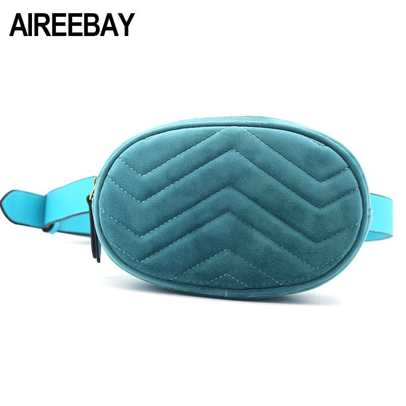 8d59ce7fc93f AIREEBAY Waist Bag Women Velour Sky Blue Fanny Pack Bags Female Classic  Brand Designer Fashion Retro Leather Velvet Belt Bag