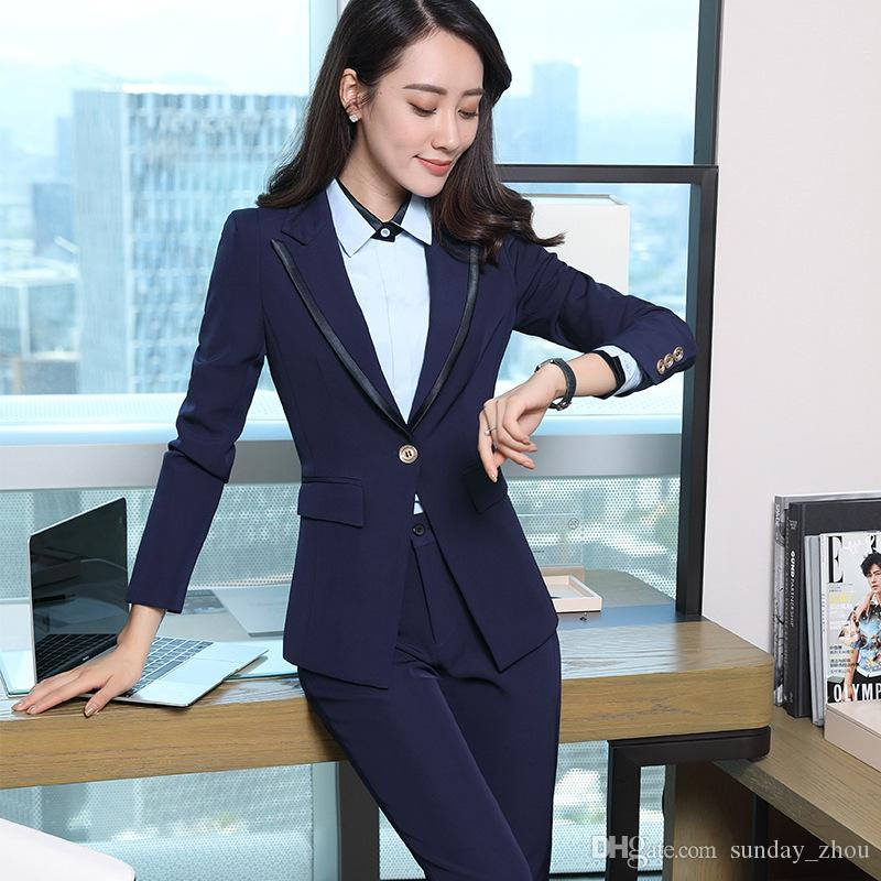Waistcoat And Jacket Sets Ladies Work Wear Uniforms Last Style Back To Search Resultswomen's Clothing Sincere Formal Blue Striped Blazer Women Business Suits With 3 Piece Pant