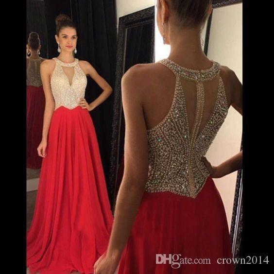 3aafe4c146b Compre Vestidos De Fiesta 2018 Vestidos De Noche Largos Cristal De Cuentas  De Chifón Rojo Una Línea Vestido De Baile Formal De Barrido Largo Vestido  De ...