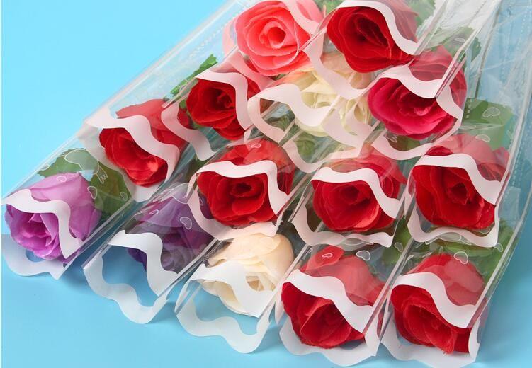 La simulazione di singolo strato 5 petali di fiori di seta amante petali di rosa fiori singoli floreali sulle rose di San Valentino