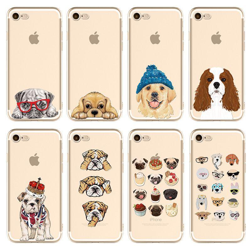 0332fc91255 Carcasas Personalizadas Funda Transparente TPU Para Apple IPhone 5 5S SE 6  6S 7 8 Plus X Perrito Lindo Perro Bulldog Husky Patrón De Impresión Funda  Suave ...