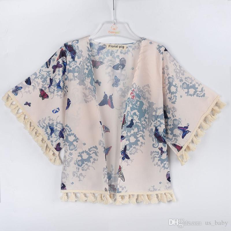 Bebek Kız Kimono Çocuklar Yarım Kollu Püskül Çiçek Baskı Hırka Açık Sunsuit Kelebek Baskılı Kız Bluz