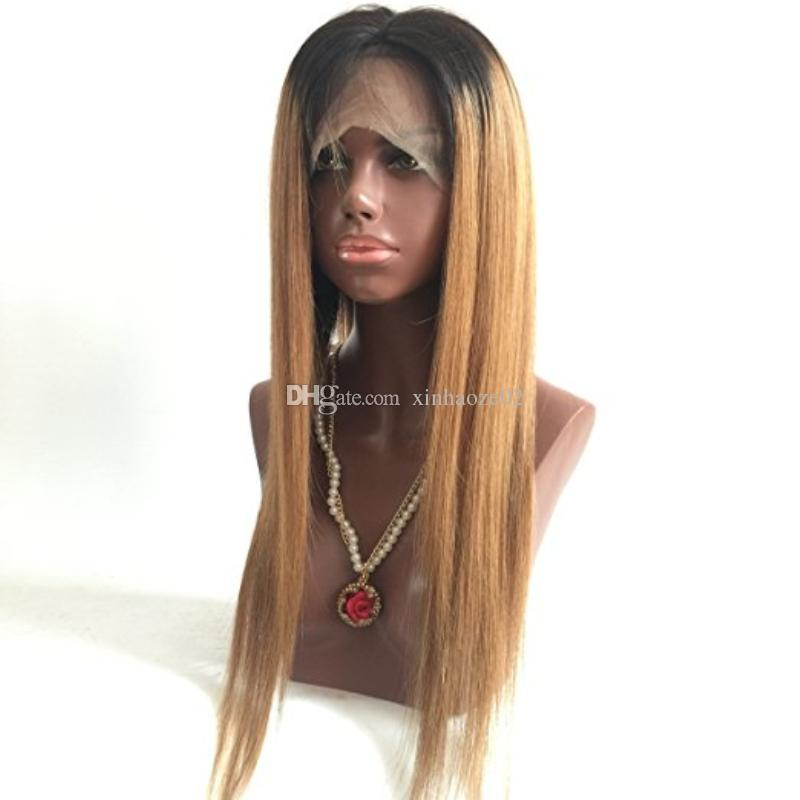 150 Density Ombre Honey Blonde Color 1B 27 Thick Glueless Full Lace Human Hair Wigs Brazilian Straight Lace Front Wig For Black Women