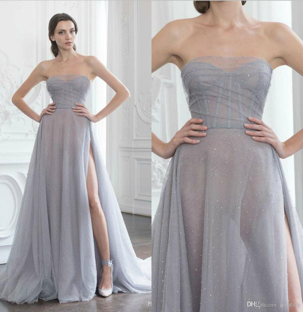Paolo Sebastian 2019 Evening Dresses Beaded High Split Sweetheart Sexy  Bling Prom Dress Party Bridal Guest Gowns Plus Size Robes De Soirée Evening  Dresses ... e7b107b04