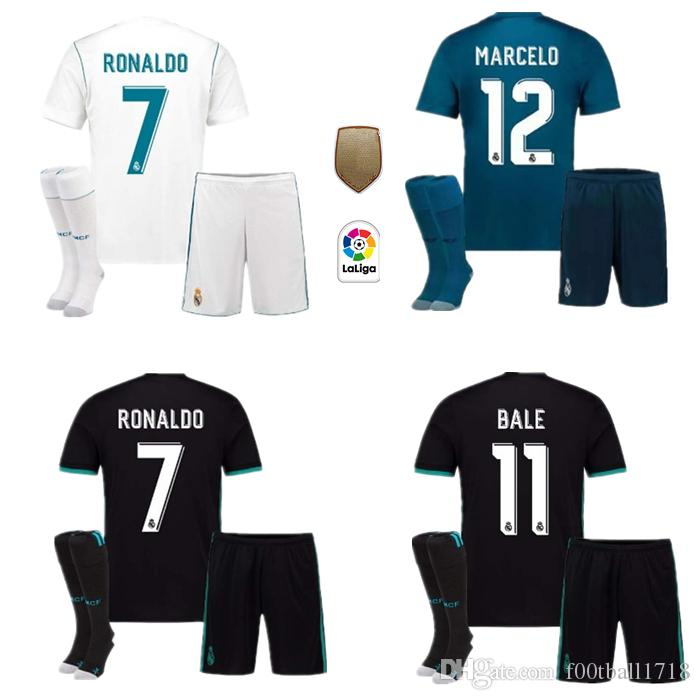 7b1db1c0cf87f Compre 2018 Adultos Kit De Fútbol Local Del Real Madrid Jersey 17 18  RONALDO ASENSIO MODRIC BALE RAMOS ISCO NAVAS KROOS BENZEMA Hogar Visitante  3ra Camiseta ...