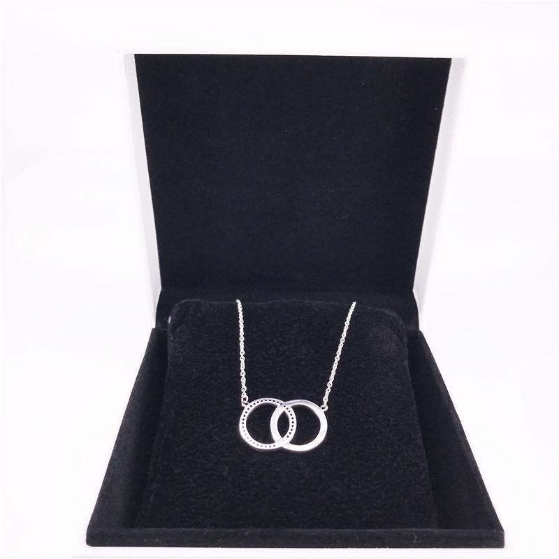 Pandora Cercles chaîne collier Authentique Argent Sterling 925 avec zircon cubique clair DIY Fine Jewelry 396235CZ-45 Collier