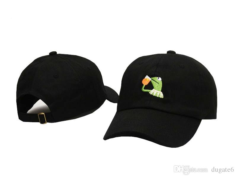 Новый дизайн грустный Кермит чай крышка лягушка Пепе чувствует себя плохо человек вышивка ВС-тень Snapback хип-хоп бейсболка грустный мем лягушка шляпа