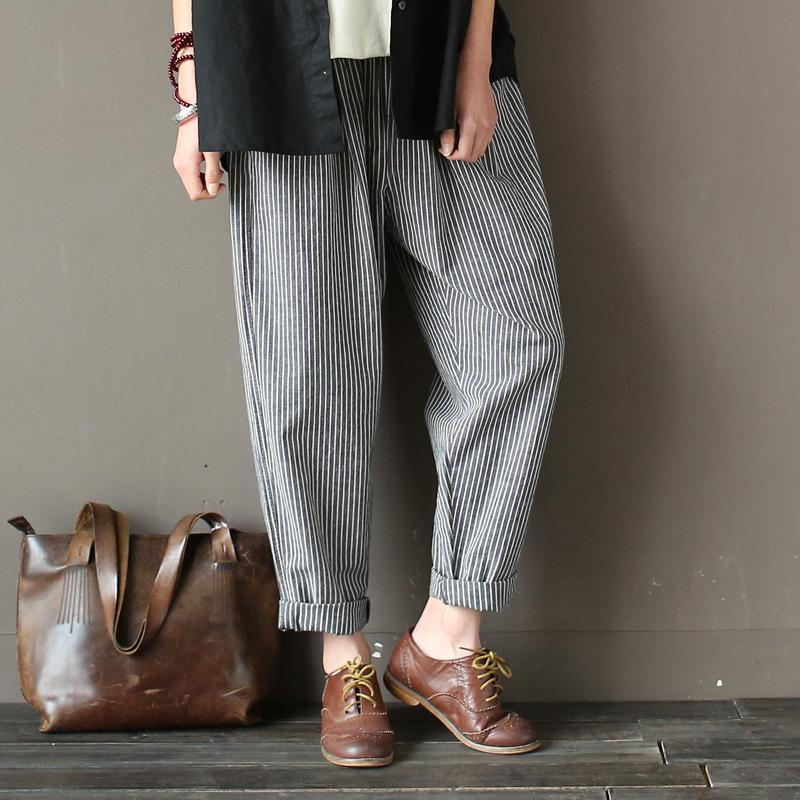 1c31c1c52f3 2019 Johnature Women 2018 Spring Cotton Linen Line Pants Elastic Waist  Vintage Loose Casual Striped Trouser D1892606 From Yizhan05