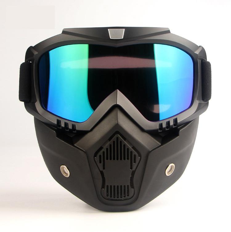جديد قناع وحدات للانفصال نظارات والفم تصفية مثالية للوجه مفتوحة نصف خوذة دراجة نارية أو الخوذ خمر