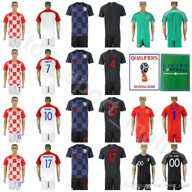 new concept b5a14 4210b 2018 World Cup Hrvatska 10 Luka Modric Jersey Set Soccer 4 Ivan Perisic 7  Ivan Rakitic 17 Mandzukic Football Shirt Kits With Short