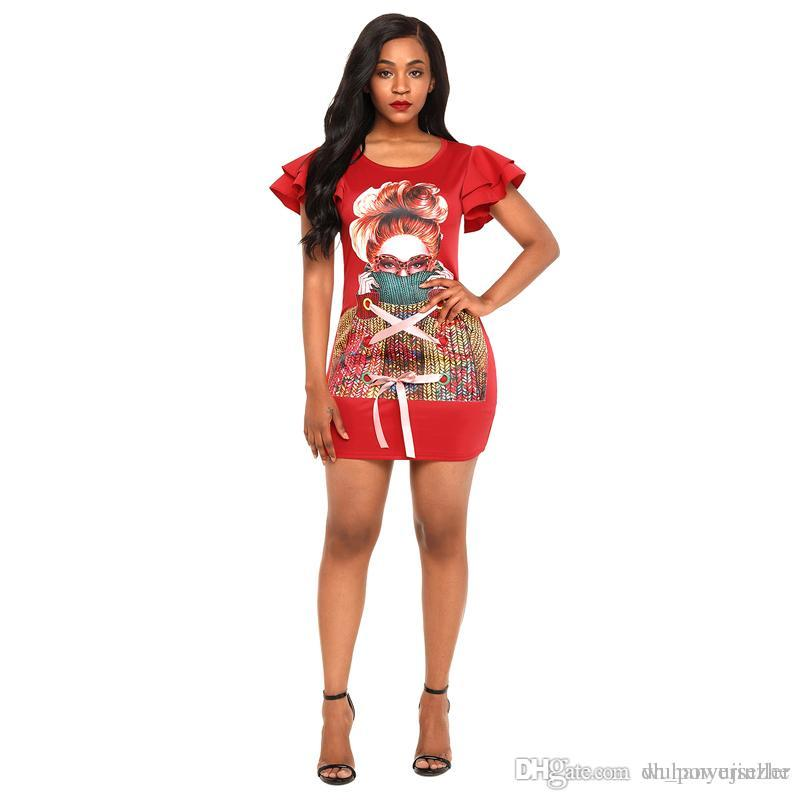 59b660089b86 Acquista Abiti Estivi Donna T Shirt Abito Con Volant Maniche Corte Party  Sexy Abiti Ragazza Stampa Ribbon Abbigliamento Donna CL448 A  36.17 Dal ...