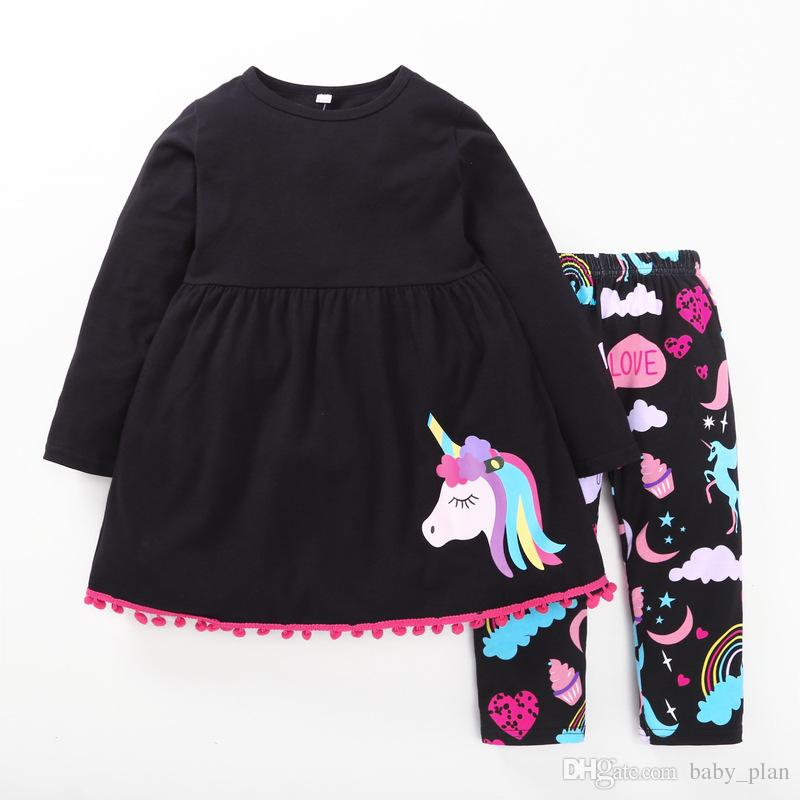 2018 new baby girls horse clothing set kids long t-shirts black tops with colorful rainbow long pants clothing suits children outfit gift