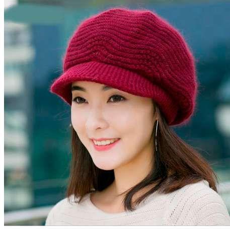 Winter Beret Women Warm Knitted Thicken Rabbit Fur Wool Beret Hat Ladies Beanie  Hat Visor Newsboy Hat Cap For Women Beanies Fedora Hat From Combop fe16a1e7b1b