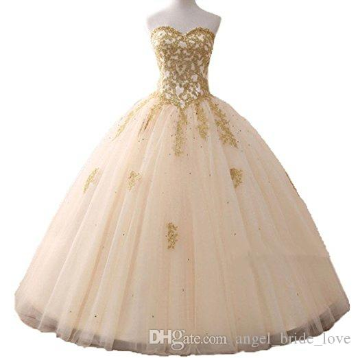 2bd72697fb9 New Gold Appliques Ball Gown Quinceanera Dress 2019 Sparkle Crystal Tulle  Floor Length Sweet 16 Dress Debutante 15 Year Prom Gowns BQ43 15 Birthday  Dresses ...
