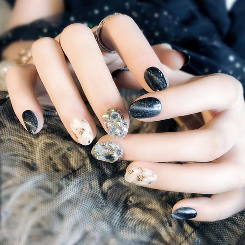 Black Glitter False Nails Pre Design Opal Shell Decal Artificial