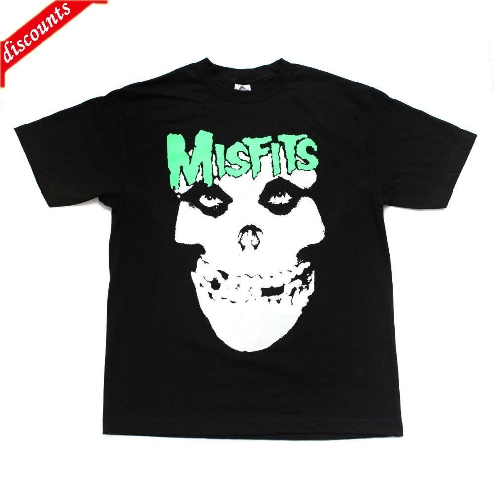 91e6fa65d Harajuku New Misfits Punk Band Embroidered Graphics T-Shirts Green ...