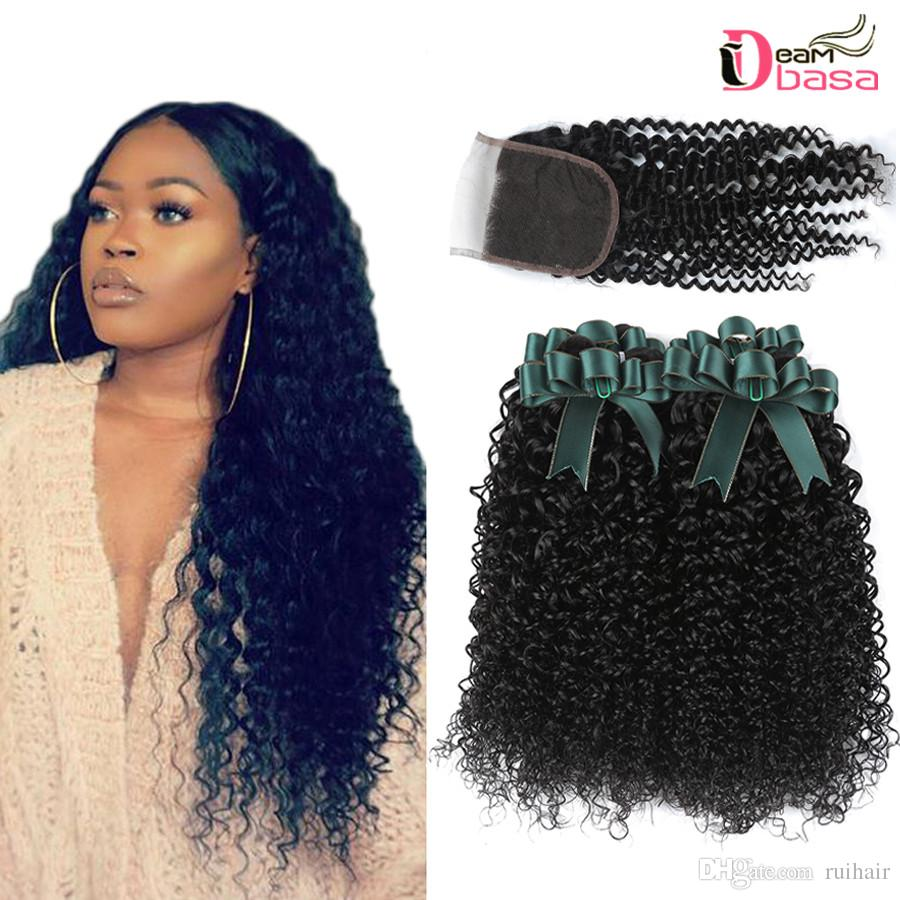 Brazilian Kinky Curly Bundles With 4x4 Lace Closure Brazilian Curly Hair  With Closure Brazilian Virgin Human Hair Bundles With Closure Black Hair  Weaves ... 30ffad5620