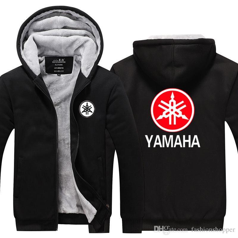 537c5c84c Compre Nova YAMAHA MOTOR Logotipo Inverno Cashmere Moletom Com Capuz Casaco  Com Zíper Lazer Camisolas Engrossar Casaco Cardigan De Manga Longa Treino  ...