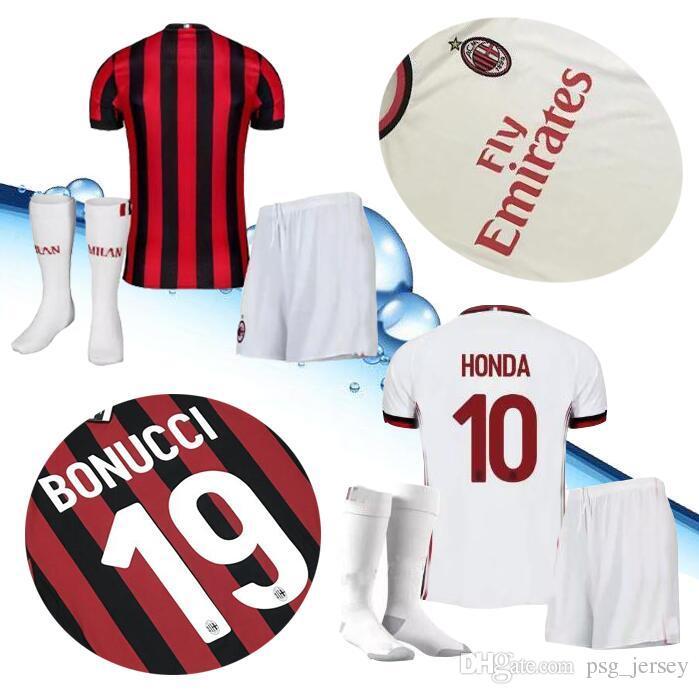 2018 AC Milan KITS + Socks Soccer Jersey 2017 2018 AC Milan Soccer ... aabfff43e