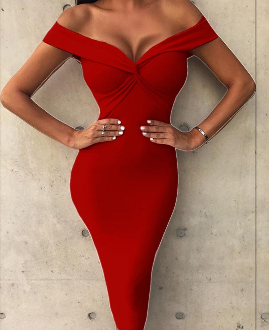 339da40bc699 2019 Summer Women Sexy Off The Shoulder Low Cut Chest Wrapped Short Sleeve  Pleated Evening Party Cocktail Club Midi Bodycon Dress From Hengytrade