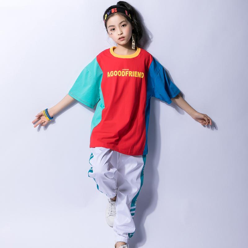 Acquista Costume Da Hip Hop Ragazzi Street Dance Costumi Jazz Ragazze  Splicing Colore A Maniche Corte Top Bianco Pantaloni Sportivi Bambini Show  DNV10428 A ... 577ab667cab5