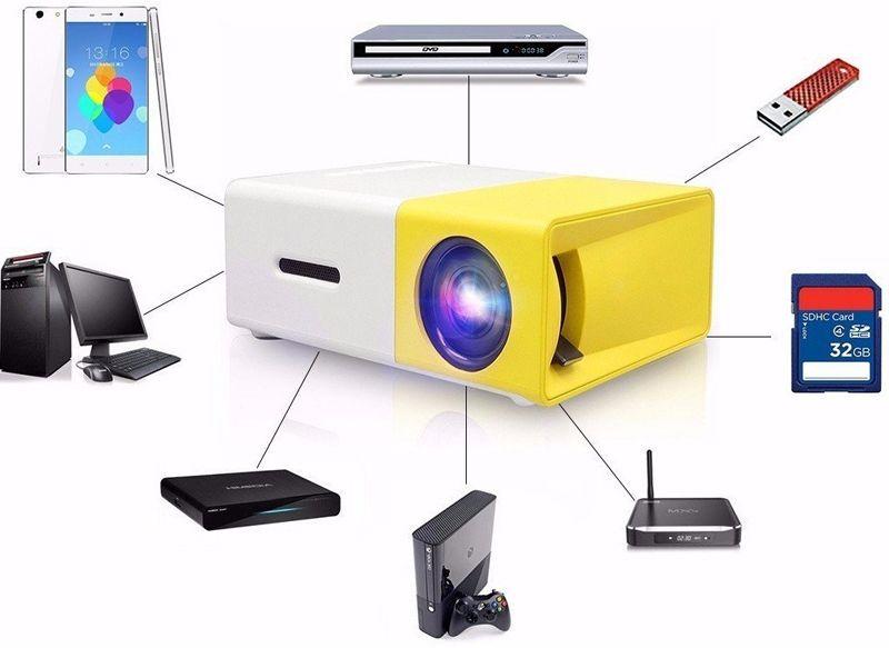 Yg300 LED Портативный проектор 400-600LM 3.5 мм аудио 320x240 пикселей YG-300 HDMI USB мини-проектор домашний медиа-плеер высокое качество