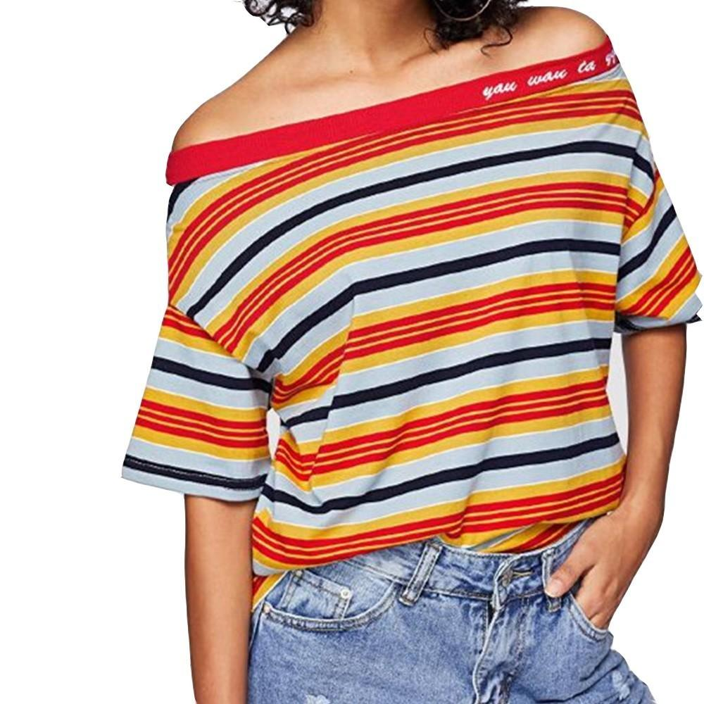 2aeb46fe054cb1 Loneyshow 2018 Women Striped Summer T Shirt Slash Neck Off Shoulder Tops  Sexy Shirts For Woman Quirky T Shirt Awesome T Shirts For Sale From Burtom