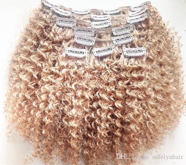 Nouveau Clip Brésilien Dans Les Vierges Cheveux Bouclés Vierge Kinky Extensions Remy Blonde 27 # Clip En Extensions De Cheveux 120g Un Ensemble